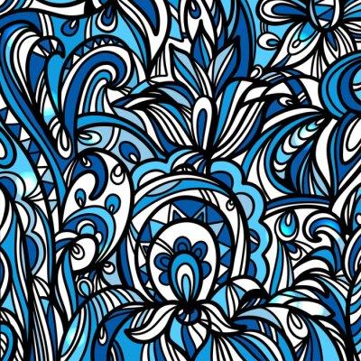 Bleu, résumé, floral, fond