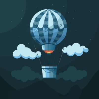 Blue balloon or aerostat in the night sky among clouds, mountains and stars.