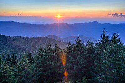 Image Blue Ridge Parkway Automne Coucher de soleil sur les Appalaches