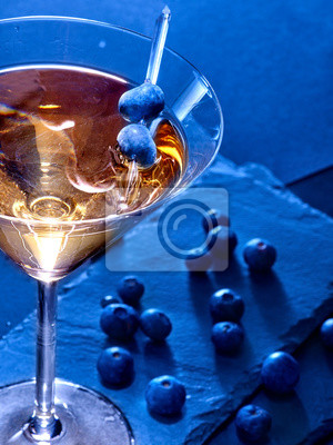 Blueberry cocktail  on black background 81
