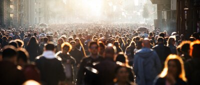 Image Blurred crowd of unrecognizable at the street