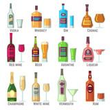 Doodle boissons, vin, bière, bouteilles. main, dessiné