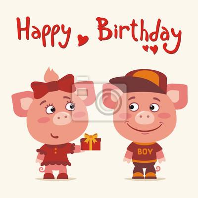 Bon Anniversaire Carte De Voeux Cochon Drole Donne Le Cadeau Peintures Murales Tableaux Porcelet Porc Accueil Myloview Fr