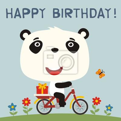 Image Bon Anniversaire Des Panda Mignons à Vélo Avec Un Cadeau Danniversaire