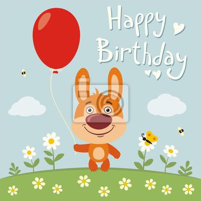 Image Bon Anniversaire Drôle Lapin Lapin Rouges Balloon Fleur