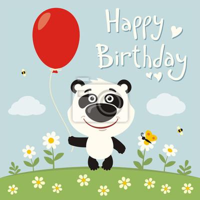 Image Bon Anniversaire Drôle Panda Ours Rouges Balloon Fleur