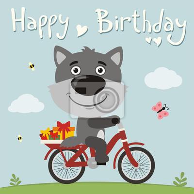 Image Bon Anniversaire Loup Drôle Sur Le Vélo Avec Des Cadeaux Carte