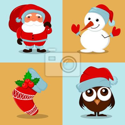 Image Bonhomme De Neige Drôle Mignon Owlet Dans Le Chapeau De Noël
