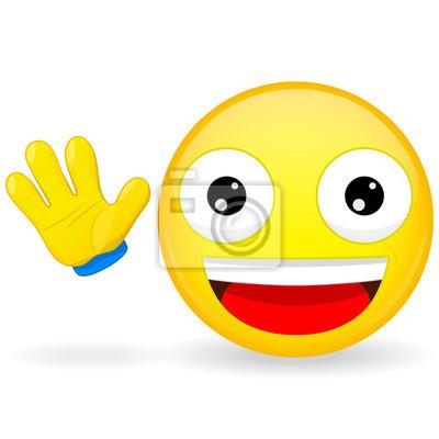 Bonjour Emoticone Emoticon Vagues Sa Main Joyeux Emoticone Peintures Murales Tableaux Emoticones Au Revoir Bye Myloview Fr