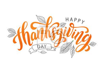 Image Bonne fête de thanksgiving avec les feuilles d'automne. Lettrage de texte dessiné à la main. Illustration vectorielle Scénario. Dessin calligraphique pour imprimer carte de voeux, chemise, bannière, a