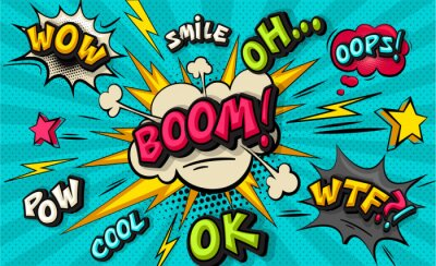 Image Boom pop art cloud bubble. Smile, wow, pow, cool, ok, oops, wtf funny speech bubble. Trendy Colorful retro vintage background in pop art retro comic style. Illustration easy editable for Your design.