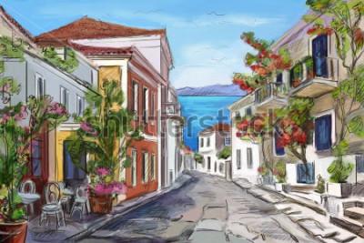 Image bord de mer ensoleillé en Grèce. mains peintes.