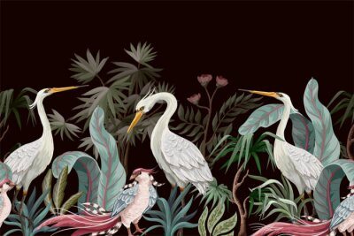 Image Border in chinoiserie style with storks and peonies. Vector.