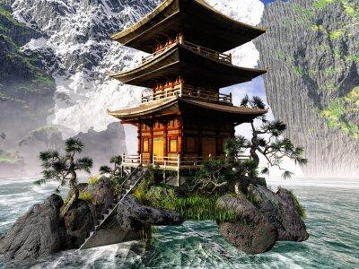 Image Bouddhiste, temple, rocheux, montagnes