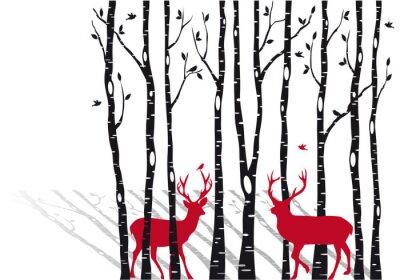 Image bouleaux avec cervidés de Noël, vecteur