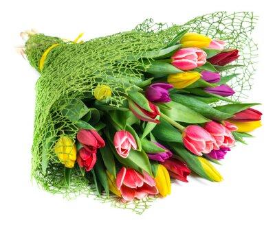 Image Bouquet de 25 tulipes colorées, isolé sur fond blanc