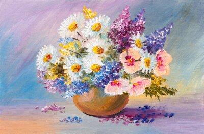Image bouquet de fleurs d'été, toujours peinture à l'huile de la vie