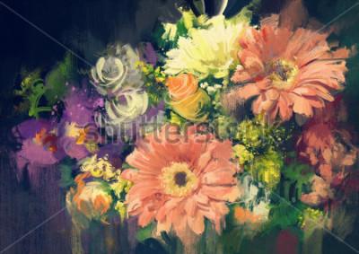 Image bouquet de fleurs dans le style de peinture à l'huile, illustration