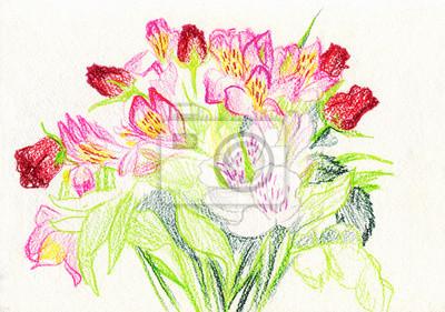 Image Bouquet De Fleurs Dessin Aux Crayons De Couleur