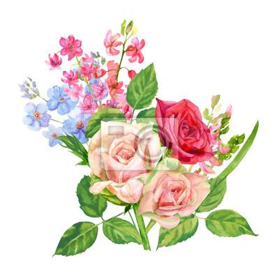 Bouquet De Roses Jacinthe Oubliez Moi Rose Rouge Fleurs