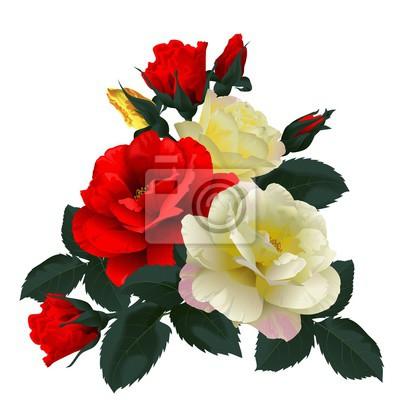 Image Bouquet de roses rouges et jaunes, isolé sur blanc