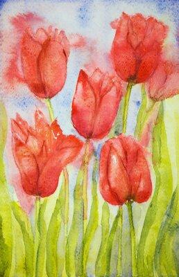 Image Bouquet de tulipes dans un champ. La technique dabbing près des bords donne un effet de foyer doux en raison de la rugosité de surface altérée du papier.