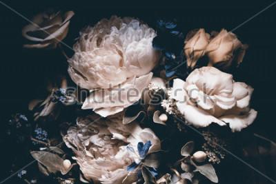 Image bouquet of pink peonies, dark background,