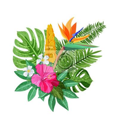 Image Bouquet Tropical Aux Fleurs Exotiques Hibiscus Plumeria Strelitzia