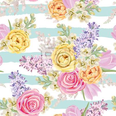 Bouquets De Printemps Sur Le Fond Raye Vecteur Seamless Modele