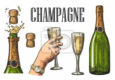 Bouteille dexplosion champagne et verre à main. Images myloview
