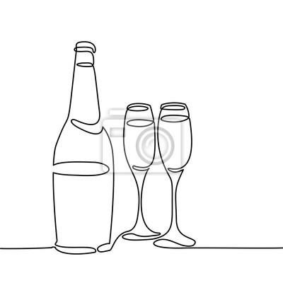 Bouteille De Champagne Dessin bouteille de champagne et deux verres isolés sur fond blanc