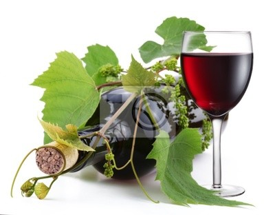 Bouteille de vin enlacée avec verre vigne et plein Images myloview