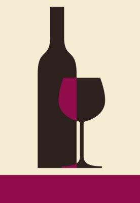 Image Bouteille de vin et le verre. conception de carte des vins