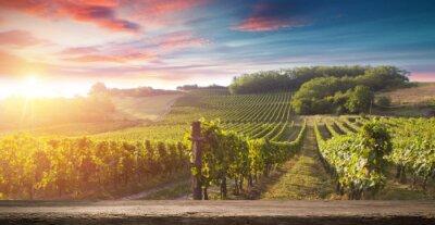Image Bouteille de vin rouge et verre à vin sur tonneau en bois. Beau fond de la Toscane