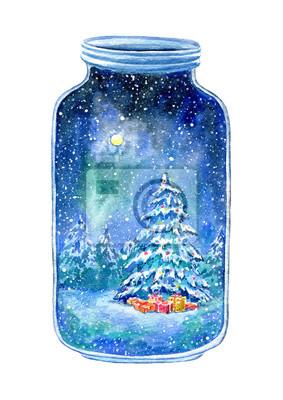 Bouteille en verre avec un arbre de Noël à l'intérieur.Postcard avec épicéa, forêt, ciel nocturne, flocons de neige et cadeaux.