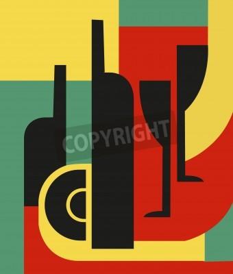 Image Bouteille et verre Composition abstraite