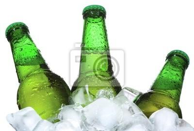 Bouteilles de bière sont dans la glace