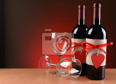 Bouteilles de vin décorés pour la Saint-Valentin
