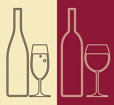 Image Bouteilles et verres de vin et champagne