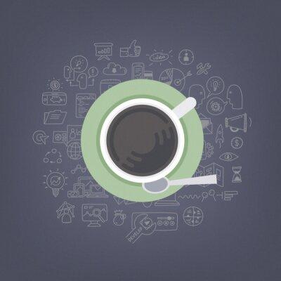 Image Brainstorming avec l'illustration de café