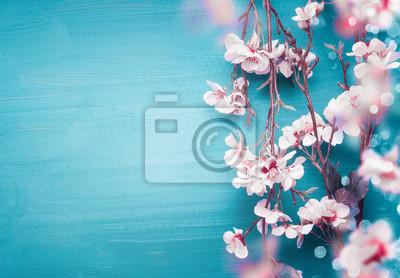 Image Branches de fleurs de cerisier assez printanières sur fond bleu turquoise avec espace copie pour votre conception. Vacances de printemps et concept nature