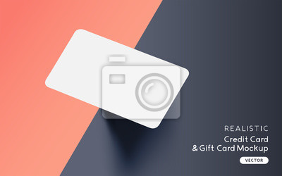 Image Brand identity blank credit / gift / business card mockup template design with vector shadow effects.