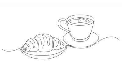 Image breakfast with croissant and coffee drawn in one line style.