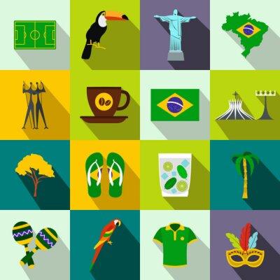 Image Brésil, icônes, plat