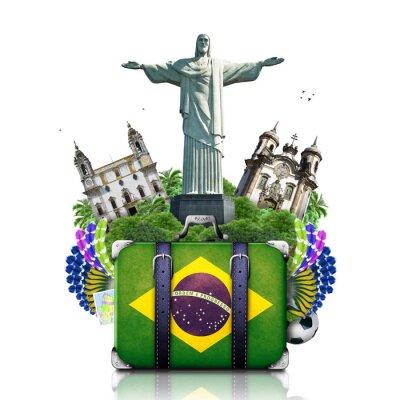 Image Brésil, monuments Brésil, Voyage et rétro valise