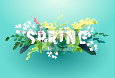 Image Bright spring design on a blue background. A voluminous inscription with an ornament from flowers, green leaves and plant branches. Vector illustration.