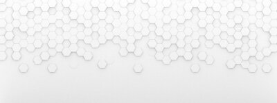 Image Bright white abstract hexagon wallpaper or background - 3d render
