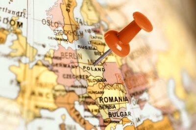 Image Broche rouge sur la carte.