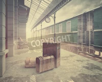 Image Brouillard, retro, chemin de fer, train .Vintage, couleur, Style, 3D, concept