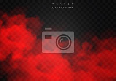 Image Brouillard rouge ou fumée couleur isolé effet spécial transparent. Nuage de vecteur blanc, fond de brouillard de brume. illustration